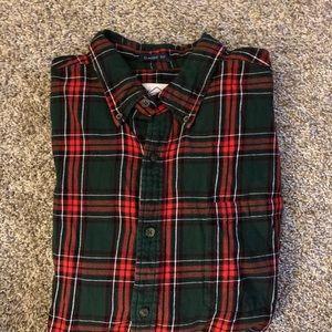At Johns Bay flannel plaid shirt. Sz L green toned